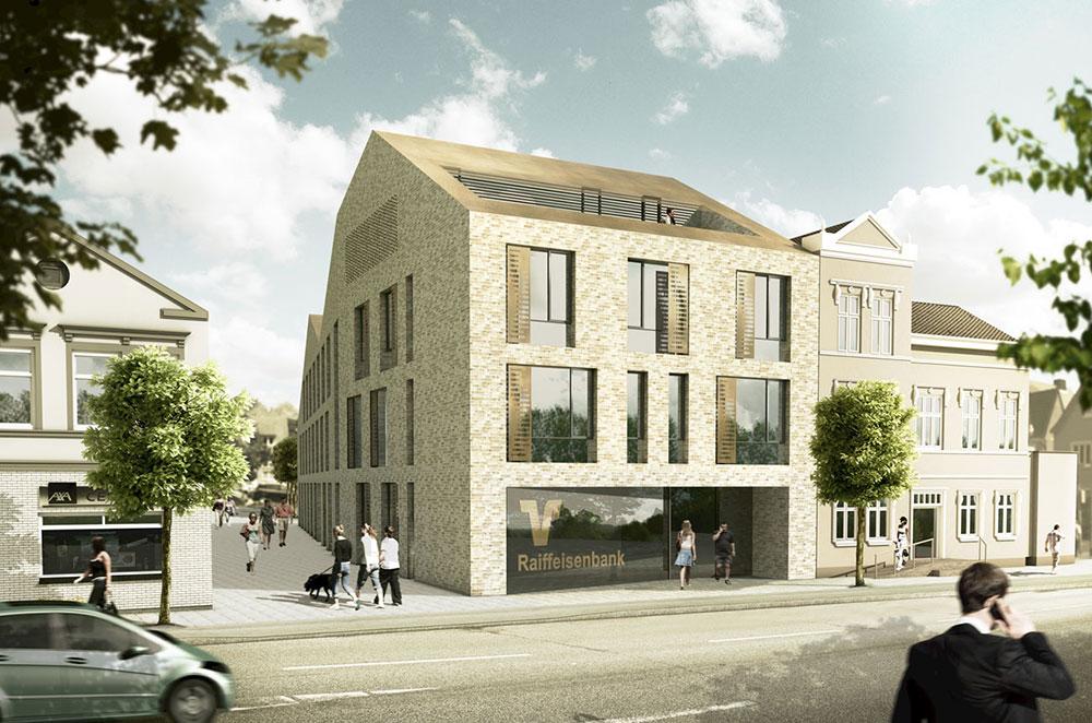 Raiffeisenbank Heide, ARCHMODELL, Wettbewerbsvisualisierung