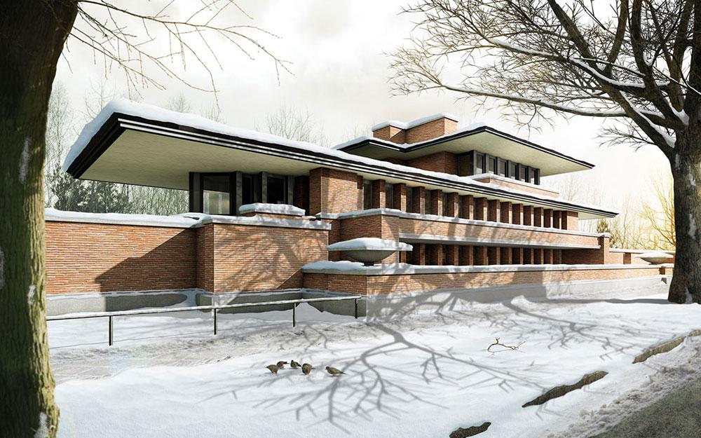 Robiehouse im Schnee, ARCHMODELL, 3D-Visualisierung