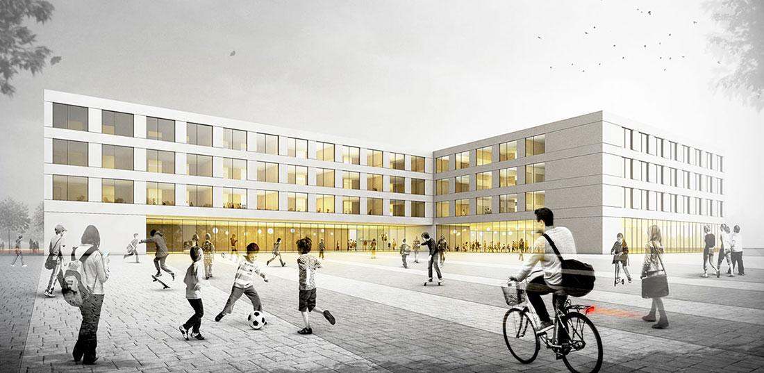 Sekundarschule in Yverdon-les-Bains, Wettbewerbsvisualisierung, ARCHMODELL