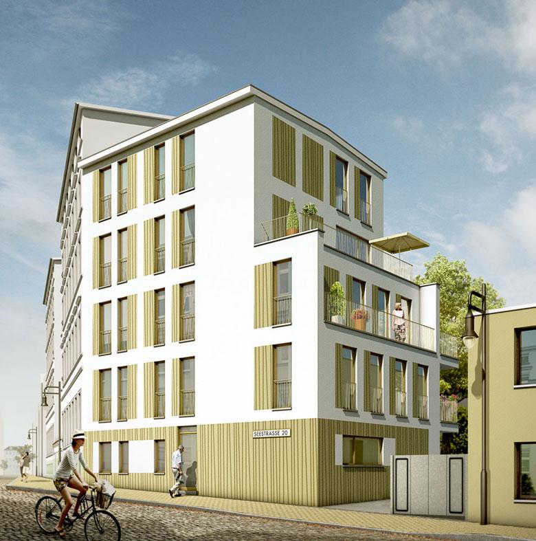 Mehrfamilienhaus Seestraße Schwerin, Architekturvisualisierung, ARCHMODELL