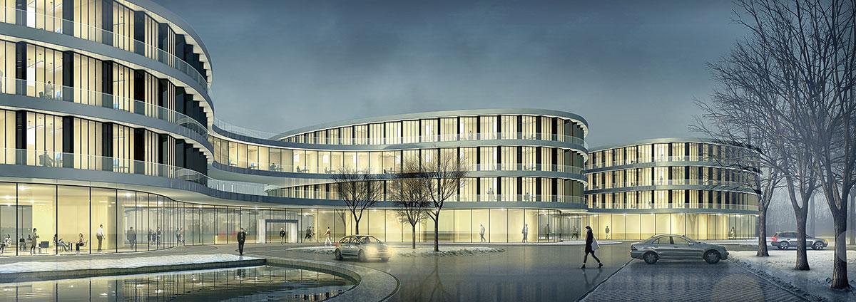 Verwaltungsgebäude Amprion Dortmund, ARCHMODELL, Wettbewerbsvisualisierung