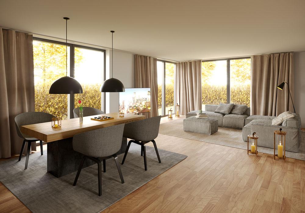 Wohnzimmer, Visualisierung, ARCHMODELL